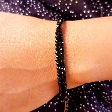 armband kette facetten stein schwarz gold