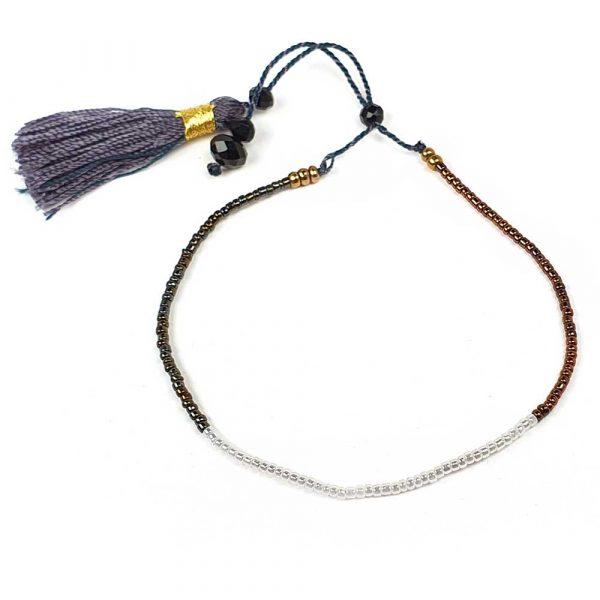 rocailles armband weiss schwarz miyuki