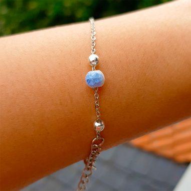 silber armband keramik lampwork blau glas