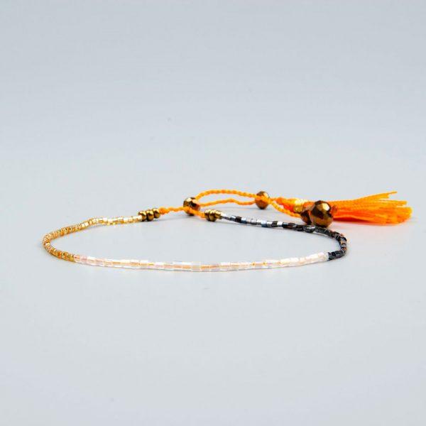 dünnes sommer rocailles-armband rauen orange gold