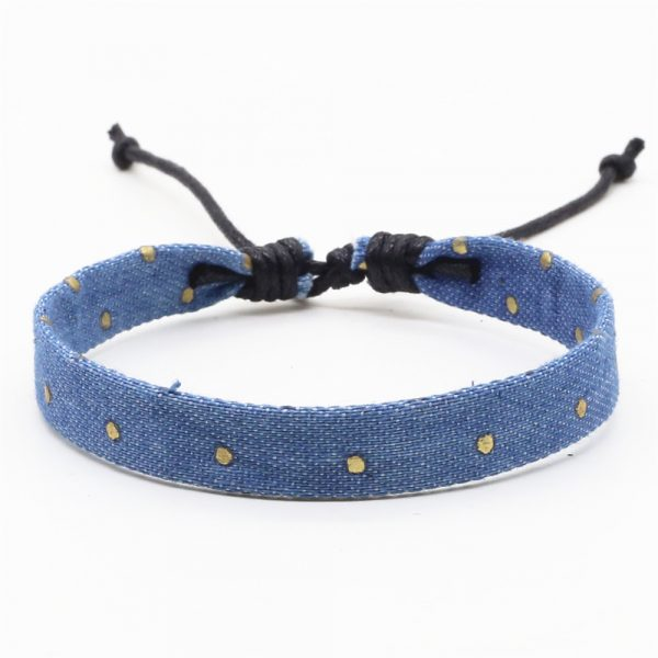 jeans armband hellblau gold punkte