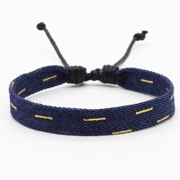 jeans armband dunkelblau gold striche 2