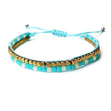 miyuki frauen armband-tuerkis gold square beads
