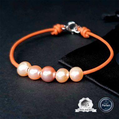 perlen armband leder 925 silber braun