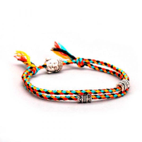 tibet buddha kopf armband bunt stoff