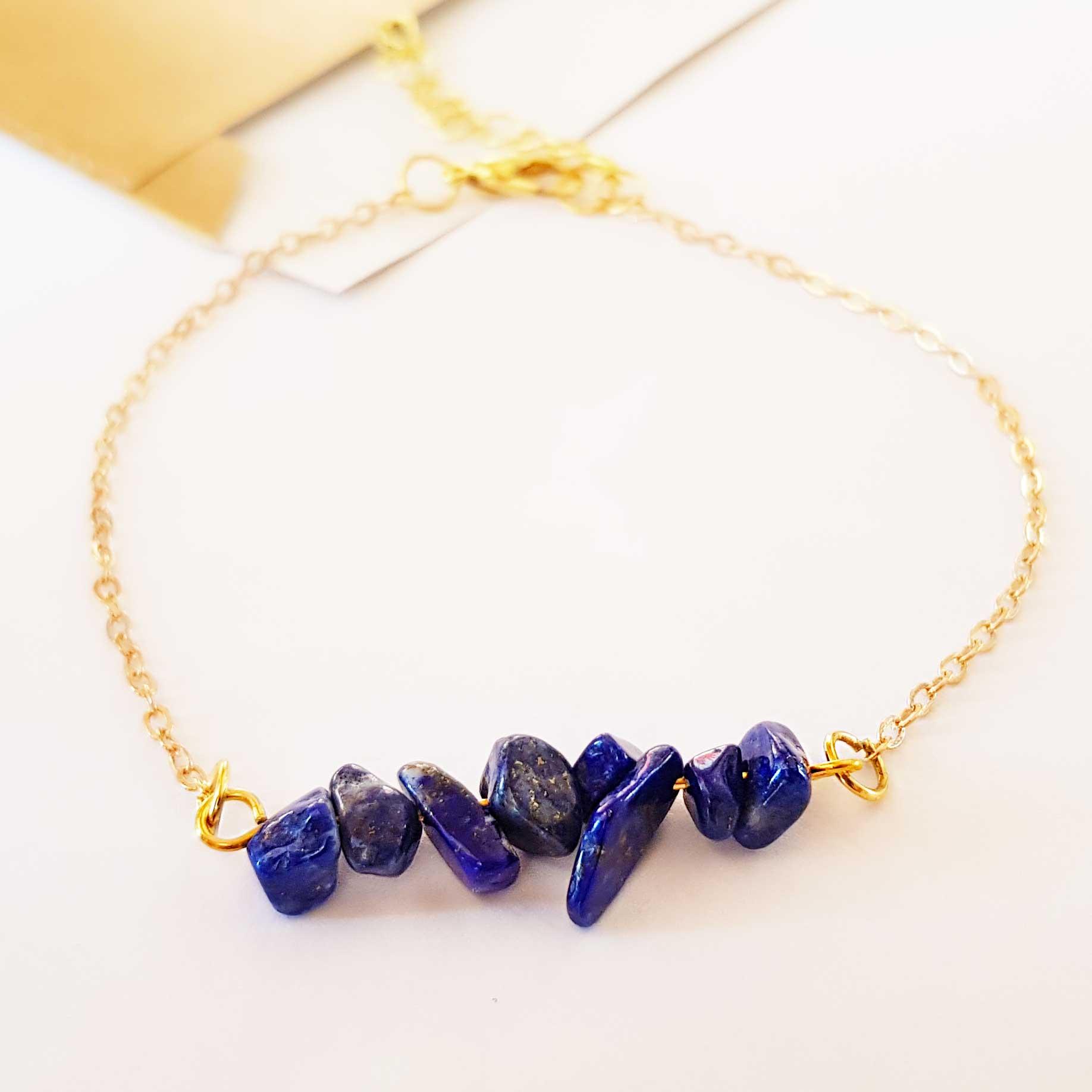 Lapis Naturstein Armband blau gold Gliederkette