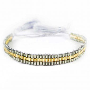perlen armband zart rocailles glas bommel silber gold