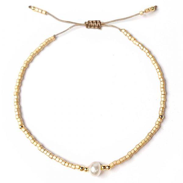 rocailles miyuki gold beige perle echt zart armband