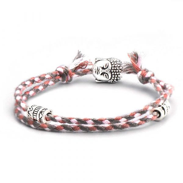 budda glücksarmband freundschaft schutz grau-rosa