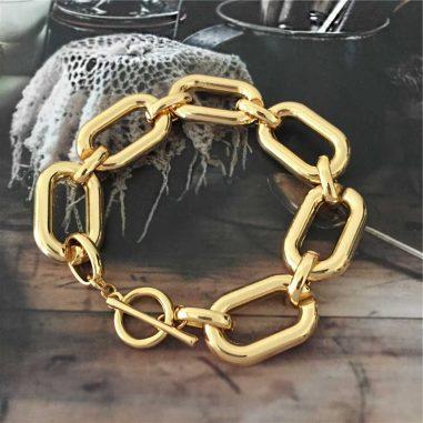 gold armband gliederkette fat chunky breit