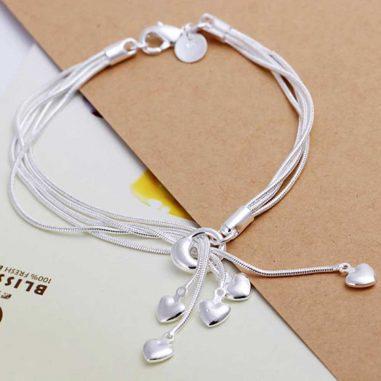 herzchen armband multistrang silber 925