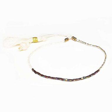 miyuki rocailles perlen armband frauen schwarz changierend weiss