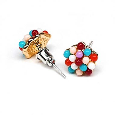 ohrstecker ohrring color candy dots gold
