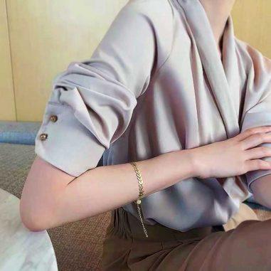 armband blaetter edelstahl vergoldet perlen