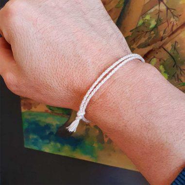 stoff armband einfach hell beige baumwolle handarbeit
