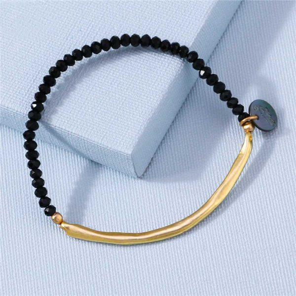 armband gold schwarz onyx kristall facettiert