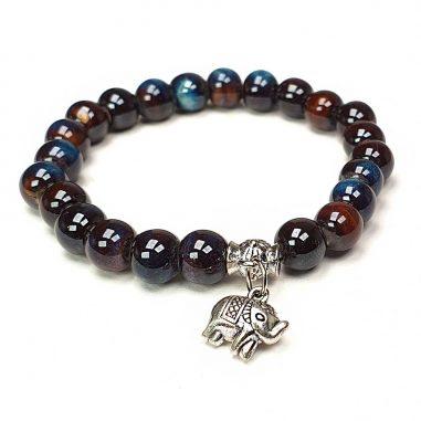 armband keramik perlen blau oliv silber elefant-1