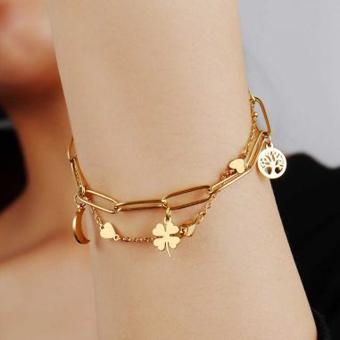 armband edelstahl gold doppelkette charms