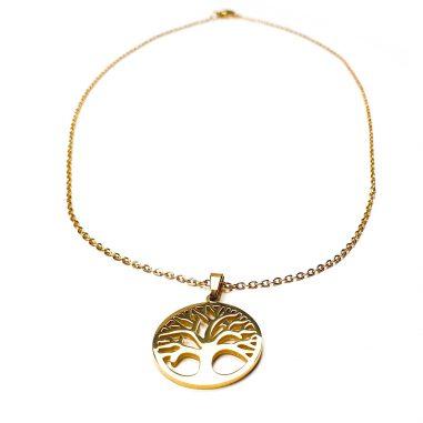 lebensbaum halskette gold edelstahl