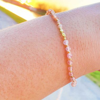 boho quarz kristall armband-gold-facettiert quarz rosa hautfarben