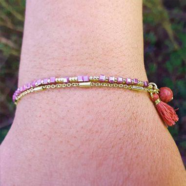 doppel armband gold rosa lila quaste
