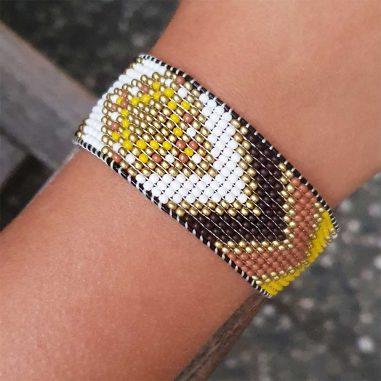 miyuki armband indio muster breit gold weiss