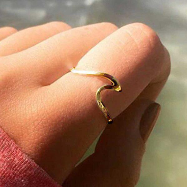 ring welle gold verstellbar edelstahl surfergirl
