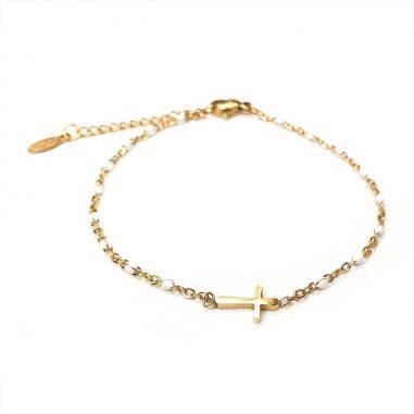 armband kreuz edelstahl gold weisse perlen jesus christus glauben