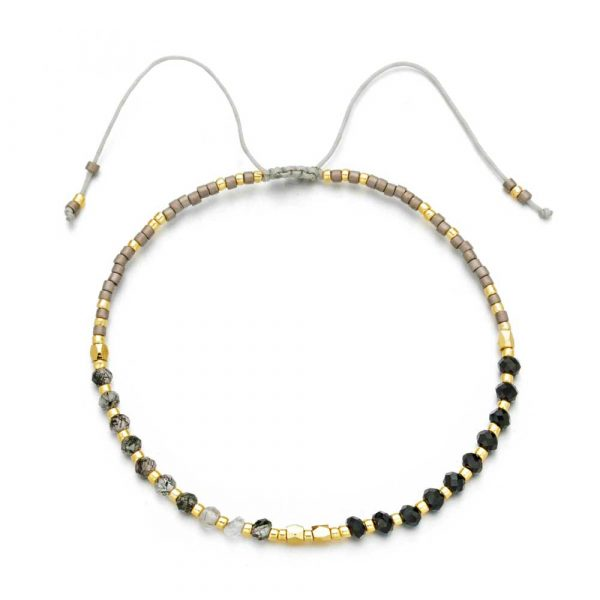 quarz kristall boho armband schwarz gold